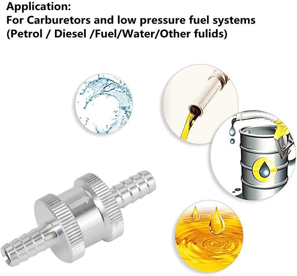 LSZXYL 6 Gr/ö/ße 4 mm 12 mm 10 mm 16 mm R/ückschlag-Einweg-Kraftstoffr/ückschlagventil Aluminiumlegierung Benzin Diesel 6 mm 8 mm