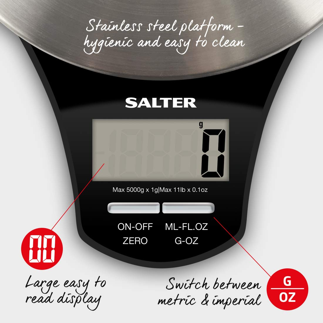 Salter Stainless Steel Digital Kitchen Weighing Scales - Electronic Cooking Scale Appliance for Home, Weigh Food with Accurate Precision up to 5kg, Plus Liquids in ml and fl. Oz. 15 Year Guarantee by Birch Hill (Image #4)
