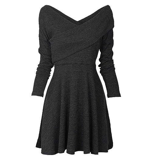 Amazon Womens Long Sleeve Elegant Vintage A Line Dress V Neck