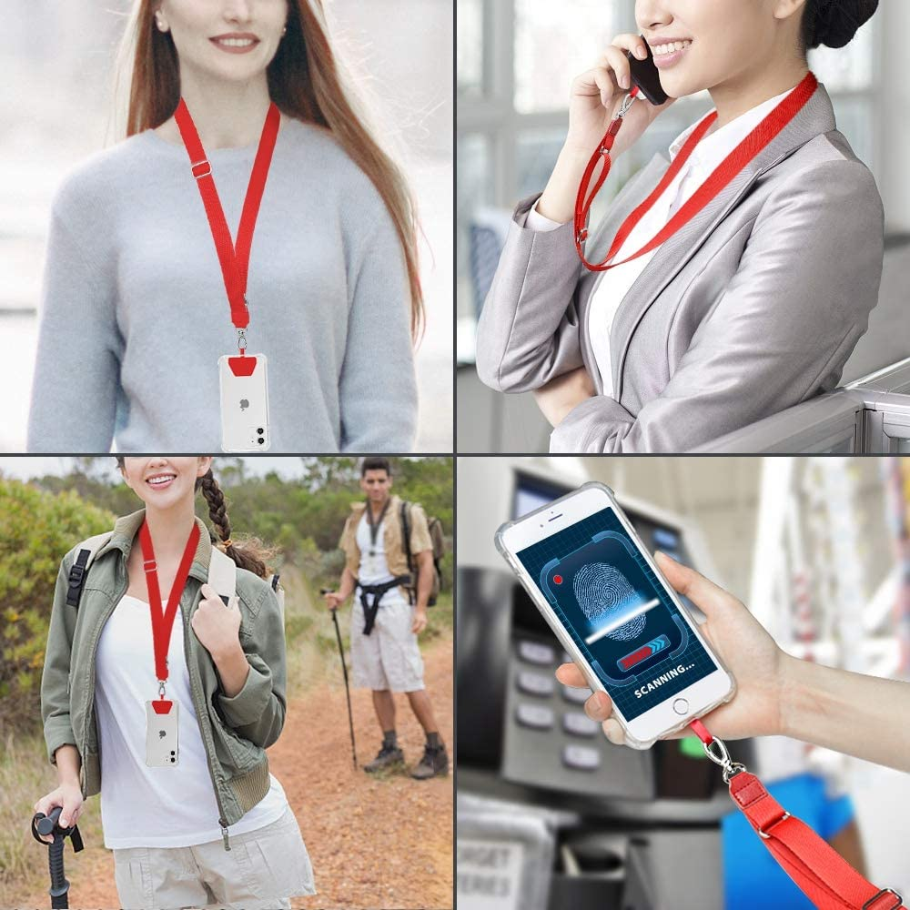Phone Neck Strap Holder Cell Phone Safe Tether Keyring Lanyard Universal Compatible with iPhone 11 Pro Max XS XR X 8 7 6S Plus Samsung Galaxy S10 S9 S8 Note 10-Red SS Phone Lanyard