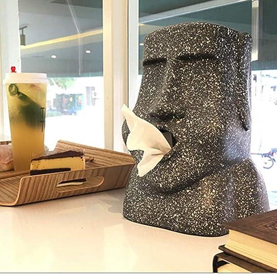 Nueva Forma De Moai Resurrection Island Bandeja De Mesa De Caja De Pa/ñuelos De Piedra Adecuada para El Hogar Hotel Restaurante Escena De Iluminaci/ón Caja De Pa/ñuelos
