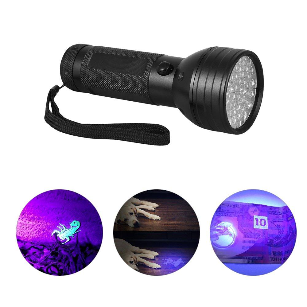 Decdeal Black Light LED UV Flashlight, Pet Urine Detection Ultraviolet Blacklight Detector for Dog Cat Urine, Dry Stains, Bed Bug