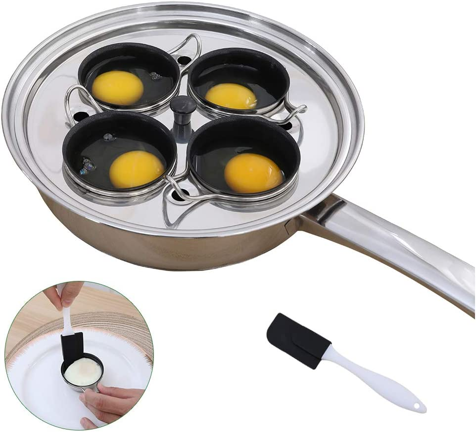 4 Cups Egg Poacher Pan - Stainless Steel Poached Egg Cooker – Induction Cooktop Egg Poachers Cookware Set with 4 Nonstick Large Silicone Egg Poacher Cups+free Silicone Spatula
