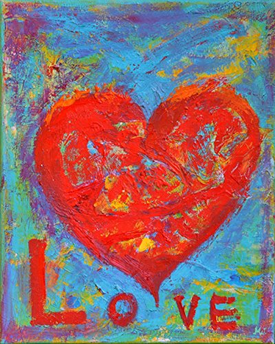 Heart Painting with Love Quotes Red and Blue Decor CANVAS Wall Decal Wedding Gift Original Oil 12x16 Red Inspirational Motivational Wall Art Work by SmartPolonia