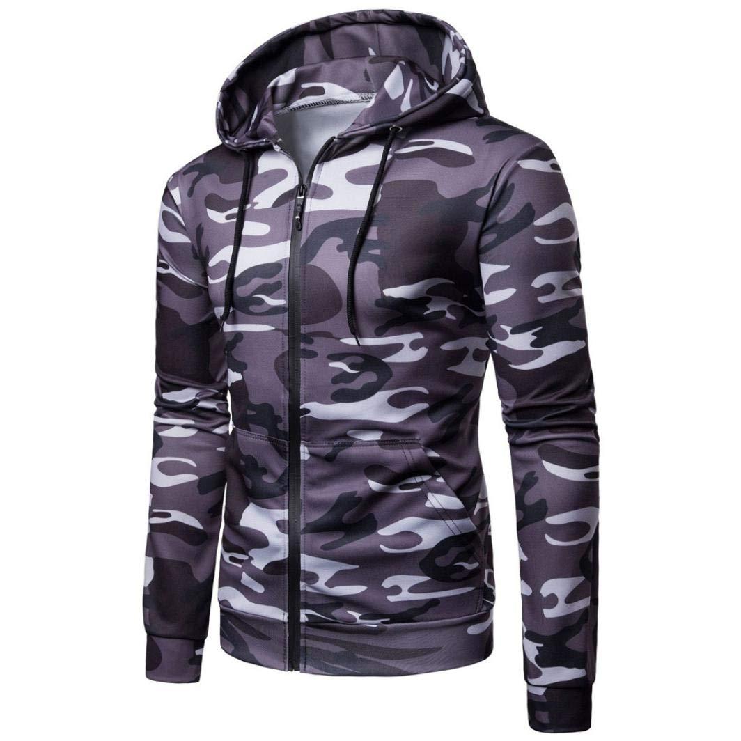 Coper Autumn Blouse, Men's Camouflage Long Sleeve Hoodie Sweatshirt Outwear Top (Dark Gray, XL)