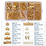 PandaHall Elite About 500Pcs Jewelry Finding Sets with Mixed Sizes Ribbon End Drop Ends Jump Ring Chains Class Learning Lots Gold