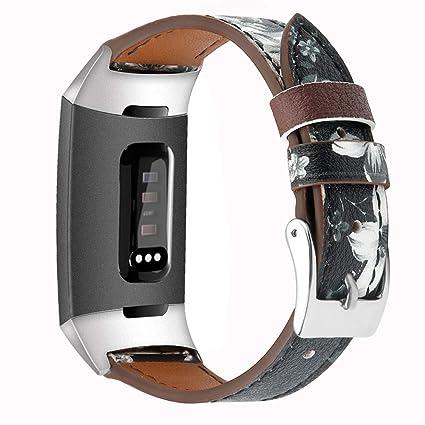 samLIKE Pulsera de Piel Fitbit Charge 3 para Hombre y Mujer ...