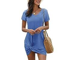 Lime Flare Women Summer Short Tshirt Dress Casual Mini Beach Shirt Sundress