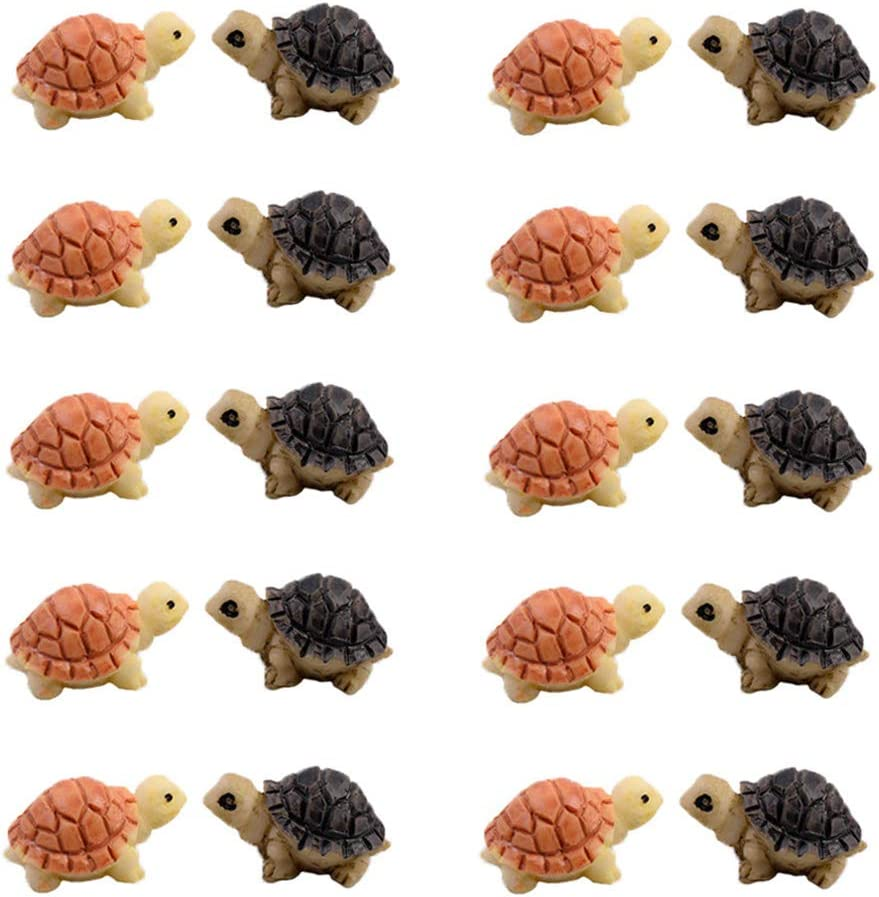 MAOMIA 20 Pcs Miniature Turtle Resin Figurine Plant Pot, Fish Tank Decorations Fairy Garden Tortoise Landscape Decor Ornament