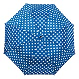 Windproof Umbrella Wind Resistant Folding Double Vented Rain Canopy with Strong Open Close (Blue & White Polka Dot)