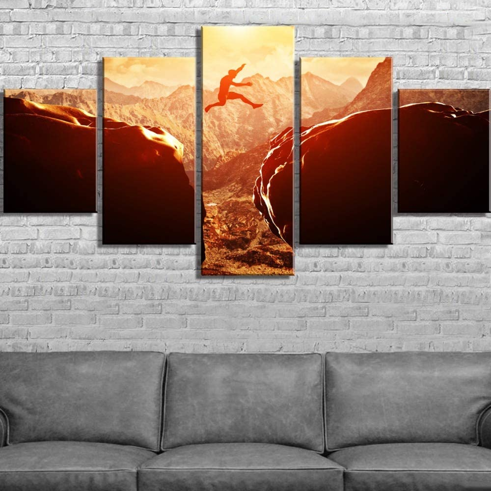 mmwin 5 Piezas HD Print Climbing Jump Sunset Poster Modern Decorativo s sobre Lienzo Arte de la Pared para Decoraciones del hogar Decoración de la Pared: Amazon.es: Hogar