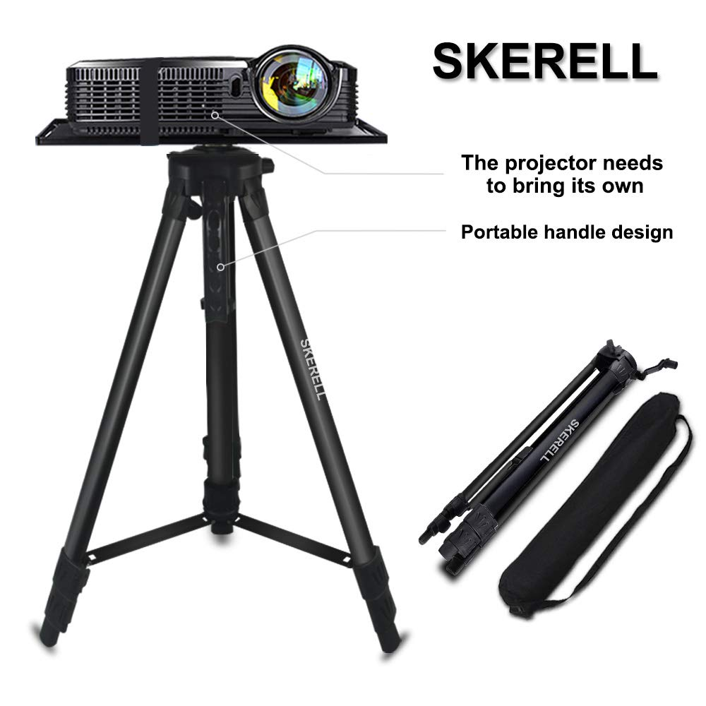 Projector Stand, Adjustable Laptop Stand, Multi-Function Stand,Aluminum Tripod Stand,Computer Stand with Plate and Carry Bag, Adjustable Height 17-46inches for Projectors/Laptops/Photography/DJ by SKERELL