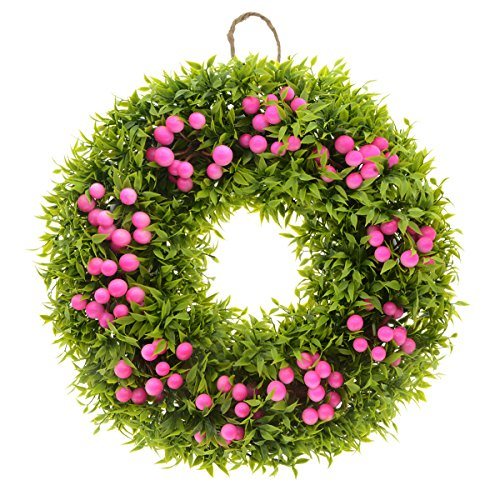 Saim Home Garden Decor Plastic Plant Floral Berries Front Door Wreath 12-Inch Diameter from Saim