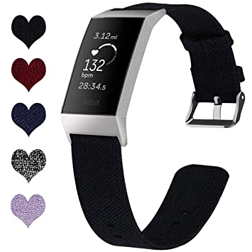 FitTurn for Fitbit Charge 3 Bands, Lightweight Breathable Woven Nylon  Charge 3 Replacement Sport Band Straps Wristband for Charge 3 Bands Special