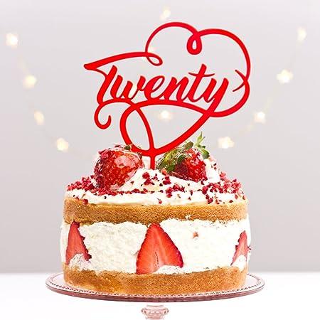 Directly Personlaised 20 Twenty Twentieth 20th Birthday Party Anniversary Wedding Acrylic Cake Topper Red Amazoncouk Kitchen Home