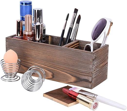 Organizador De Maquillaje Madera, Estuches de Maquillaje con 2 Soporte de Huevo de Belleza, Organizador de Escritorioe, Utiliza para Almacenar Lociones, Brochas de Maquillaje: Amazon.es: Hogar