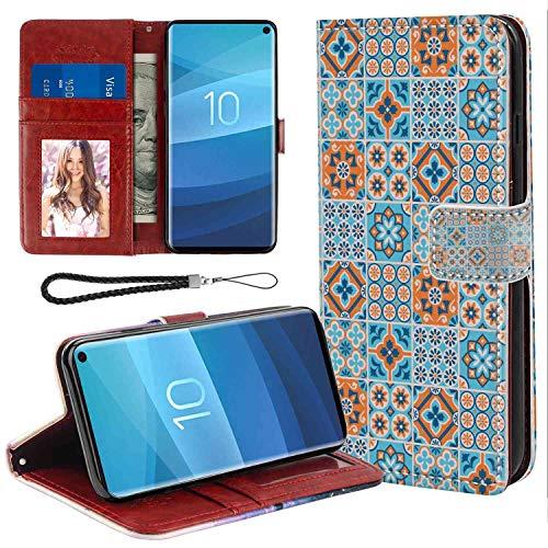 - Moroccan Various Different Flower Design Graphic Ornament Pattern Arabesque Pale and Dark Blue Orange Galaxy S10 (6.1-Inch) Wallet Case Folio Case