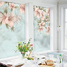 ASIBG Home Glass Film Window Stickers Small Fresh Toilet Paper Transparent Opaque Frosted Window,Matte Electrostatic Film 58Cm Wide *90Cm High
