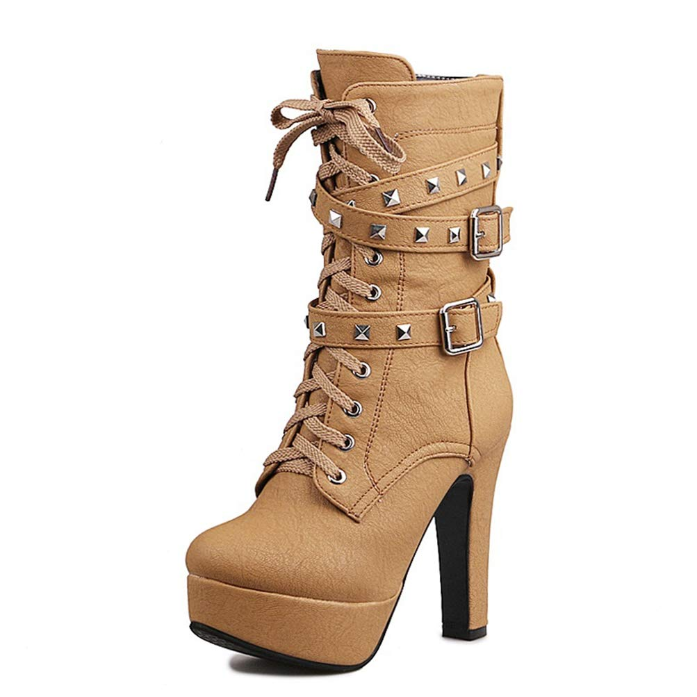 Camel T-JULY Women Mid Calf Boots Soft High Heel Cross Strap Metal Buckle Platform Short Boots Winter Lady Thick Fur Warm Boots