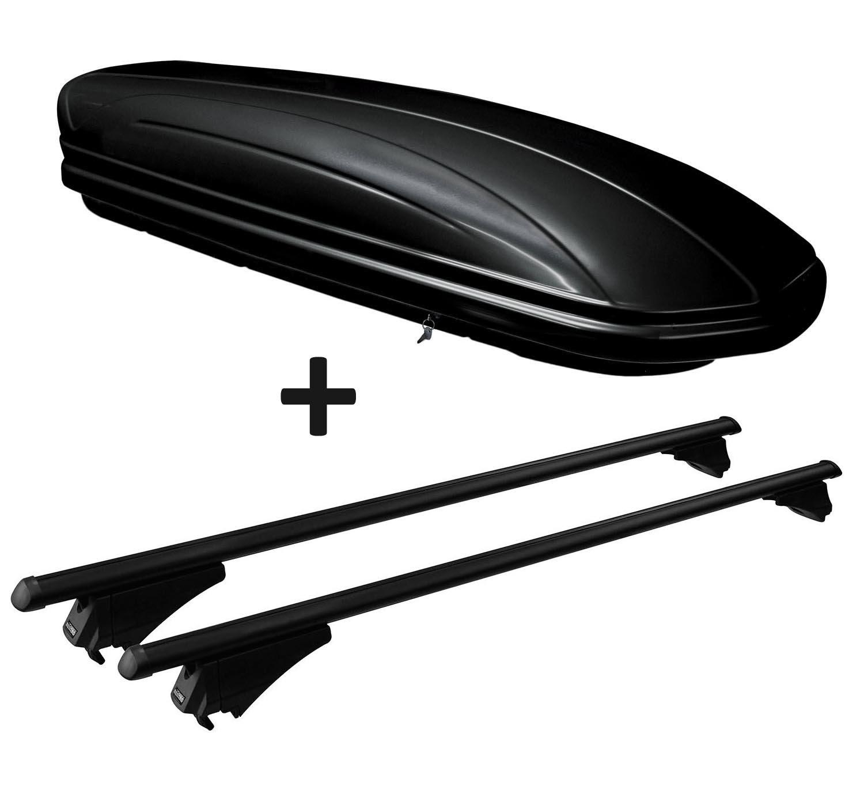 VDP Dachbox schwarz gl/änzend MAA320G g/ünstiger Auto Dachkoffer 320 Liter abschlie/ßbar Alu-Relingtr/äger Dachgep/äcktr/äger f/ür aufliegende Reling im Set f/ür Hyundai Tucson TL ab 2015