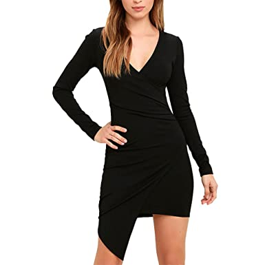 LAEMILIA Womens Long Sleeves Deep V Neck Bodycon Bandage Midi Dress Sexy  Bodycon Wear to Work 3aafe4985