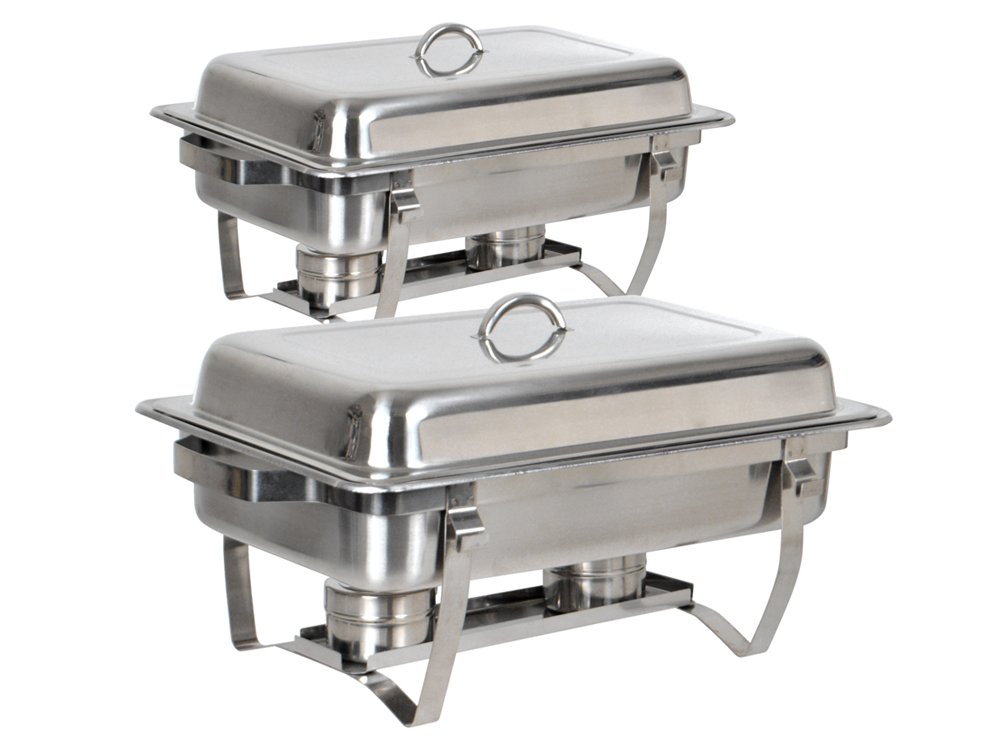 TMS Set of (2) 8 Quart Stainless Steel Rectangular Chafing Dish Full Size Buffet Catering