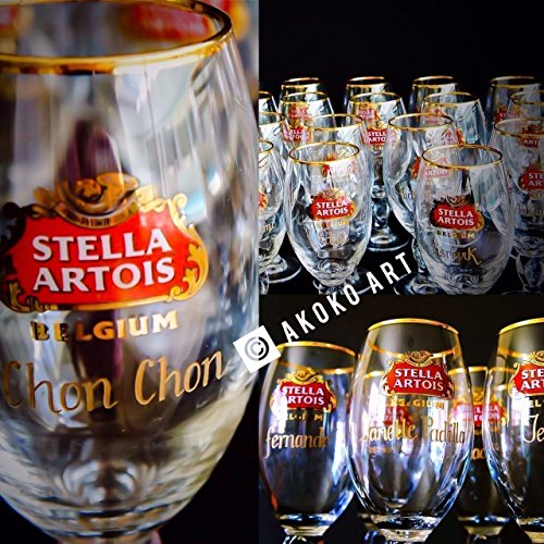 Stella Artois Chalice Engraving, STELLA CHALICE 40CL, chalice engraving, stella artois engraved, engraved beer glasses, Personalized Chalice Hand Engraved Free hand by Akoko Art Handengraved Crystal Glass (Image #1)