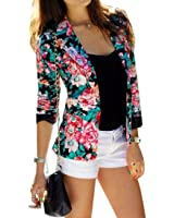 Lady Flower Printed Short Suit Overcoat Long Sleeves Jacket Fashion OL New