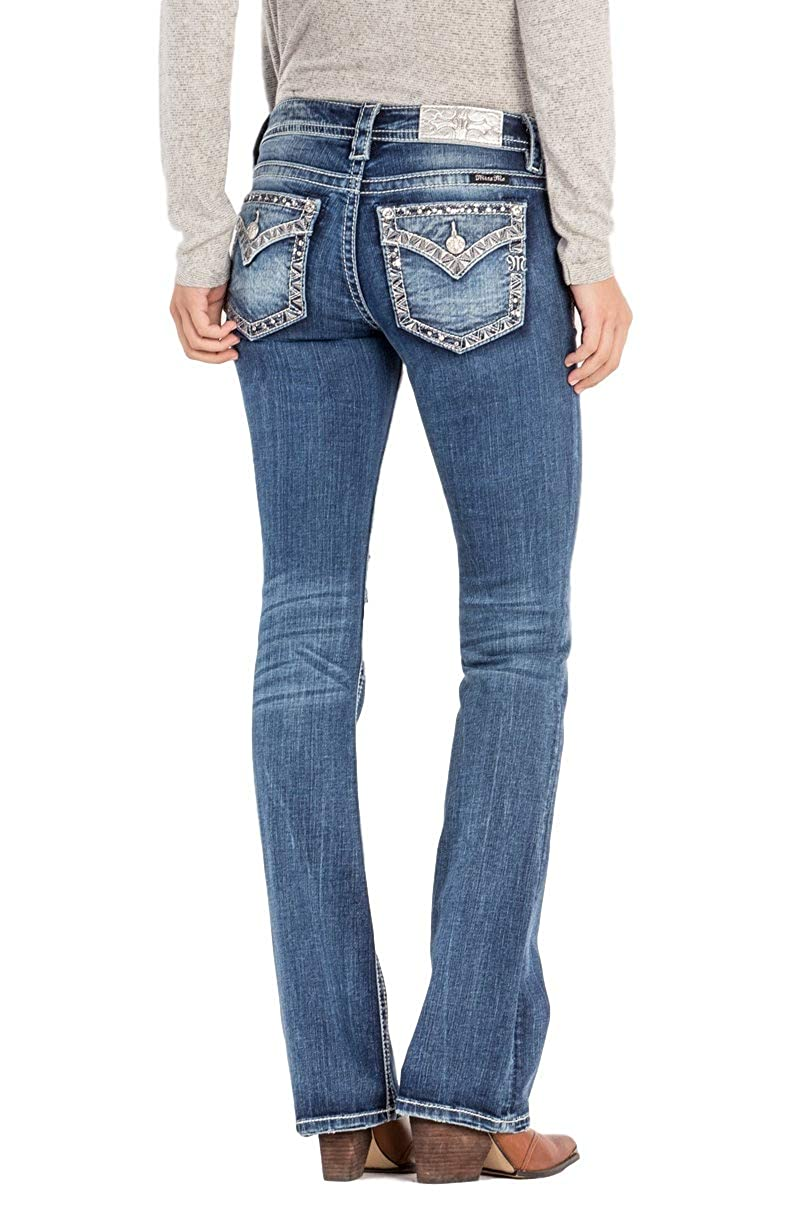 ae07153266 Five-pocket styling. Boot cut leg opening. Low rise. Button and zipper  closure 34 inch inseam. Show more. Miss Me jeans are crafted from premium  stretch ...