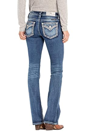 434a169e8c5 Miss Me Border Design Low Rise Boot Cut Womens Jeans L3222B, Medium Blue, 30
