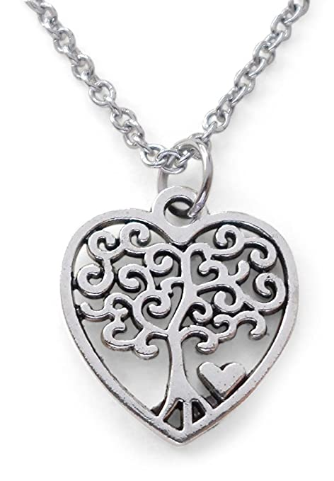 79020d4358 Amazon.com: Mom Heart Tree of Life Pendant Necklace - The Heart of our  Family: Everything Else