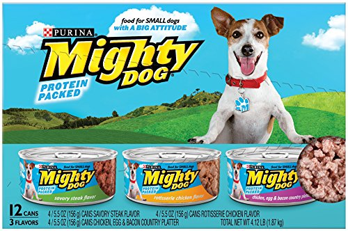 Purina Mighty Dog Wet Dog Food, 3-Flavor Variety Pack (Steak/Chicken/Chicken, Egg, Bacon), 5.5-Ounce Can, 2 Packs of 12