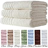 barnum 3 pc 700 gsm turkish combed cotton bath towel set 30x56 ivory