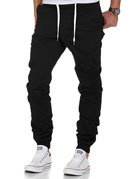 fd0dbb9dcc3dd9 Men s Chino Jogger Pants Sweatpants Fashion Wild Casual Loose Trousers  (Black