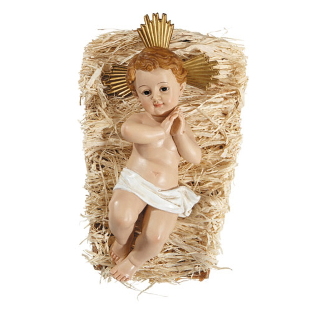 AT001 Infant Jesus with Crib, 9-1/2'' H, 1 Piece.