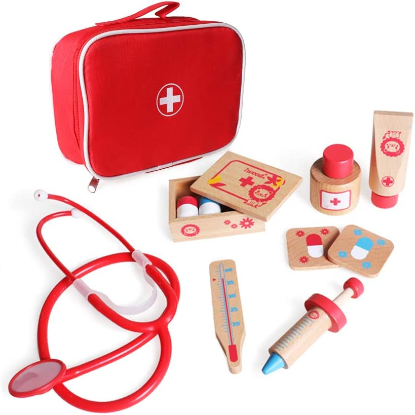 iwood Wooden Doctor Kit, 11PCS Pretend Play Durable Medical Kit with Carrying Bag Doctor Role-Play Educational Toys for Kids Toddlers