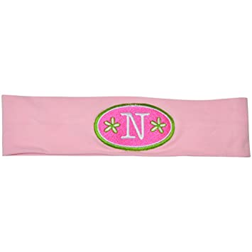 Amazon.com   Logo Loops Stretchy Embroidered Headbands for Girls with High  Fashion Initial Letter Designs (N 5259609fa9f
