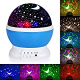 Night Lights for Kids, Baby Night Light, Starry Night Light Rotating Moon Star Projector, Romantic Night Lighting Lamp, 4 LED Bulbs 8 Modes with USB Cable, Bedside Lamp Best for Bedroom Nursery (Blue)