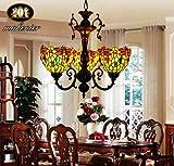 Colored mosaic glass retro restaurant bedroom hallway chandelier Tiffany chandelier Indonesia Villa Restaurant & Bar
