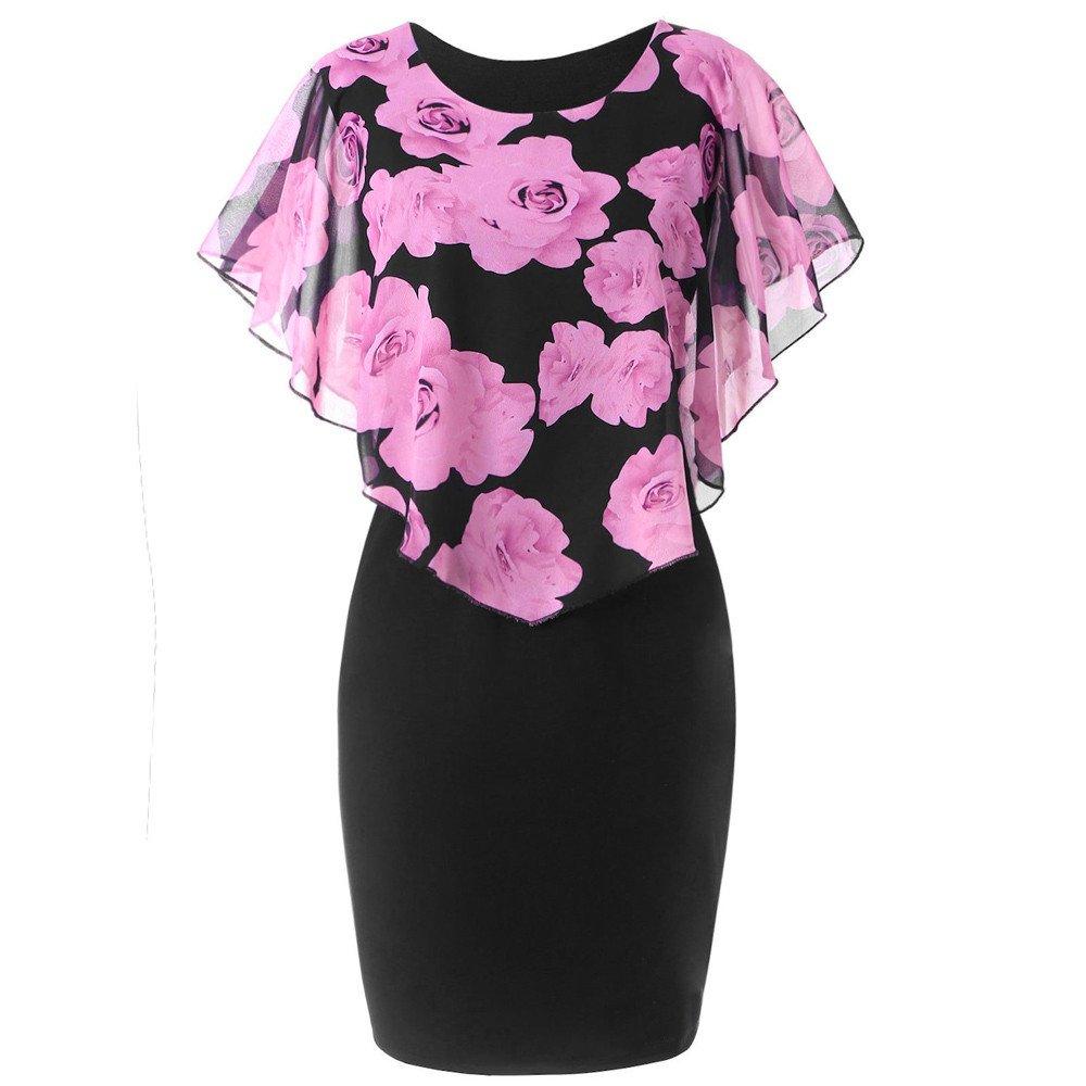MORETIME Vestiti Eleganti Moda Womens Casual Plus Size Rosa Stampa Chiffon O-Neck Ruffles Mini Abito