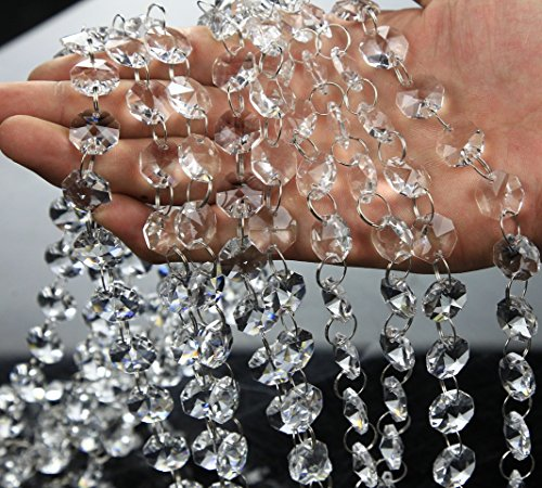 (VOVOV 10 Pack (1000CM/30.5FT) Beaded Trim Clear Crystal Garland Chandelier Octagon Beads Chain )