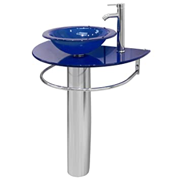 24 Inch Bathroom Pedestal Vanity Blue Vessel Glass Bowl Sink