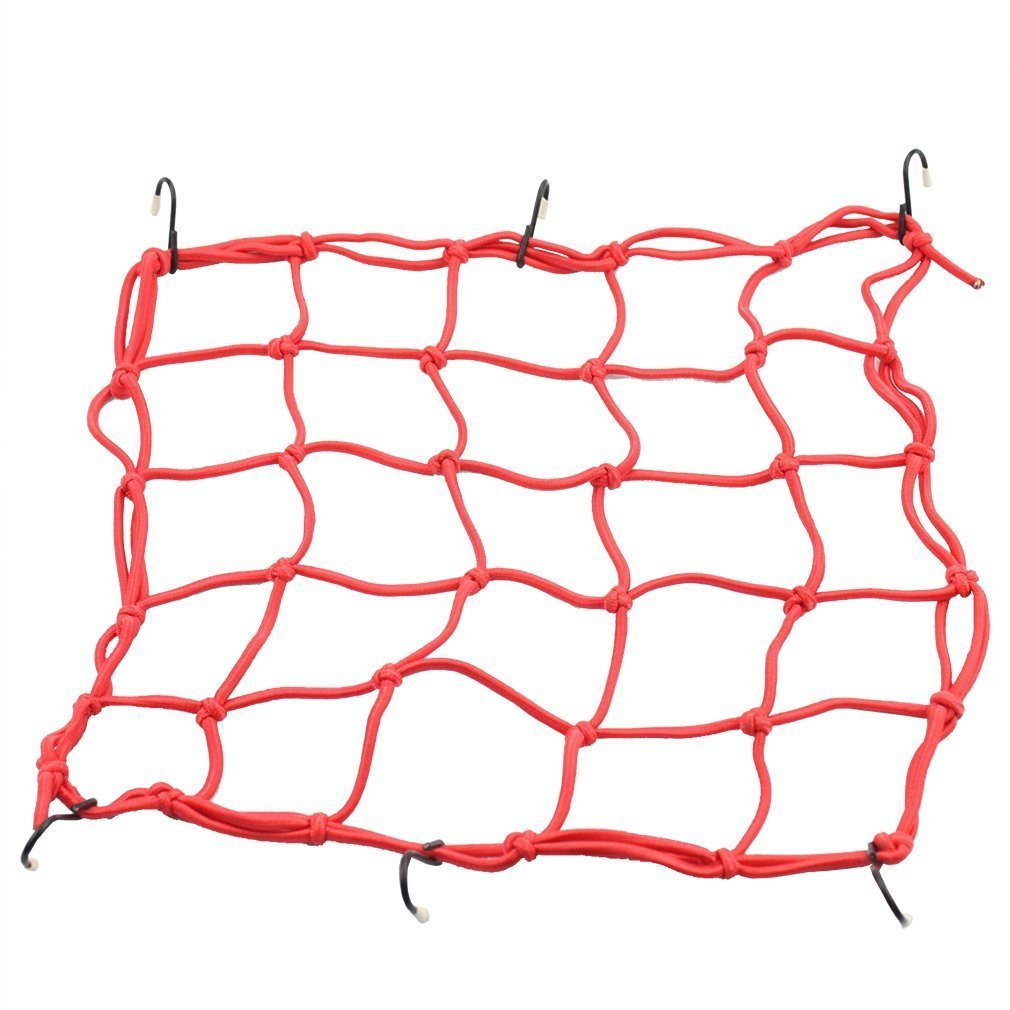 GOOFIT 15' x 15' Elasticated Bungee Luggage Cargo Net with Hooks Hold Down for Motorcycles Motorbike ATVs Bikes Cars Trucks (Blue) A010-015-40cm