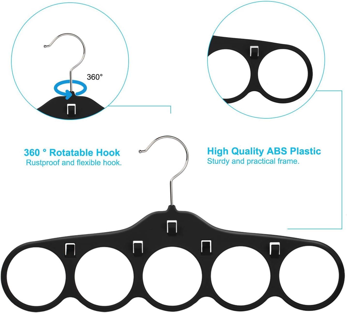 360 Degree Rotating Tie Rack with Hooks SMARTAKE Belt Hanger Bundle with SMARTAKE Scarf Hanger Bow Tie Scarves Non-Slip Durable Hanging Closet Organizer Accessories Holder for Leather Belt