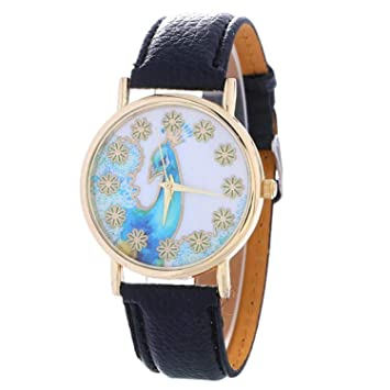 sportsmanship Watch Women Peacock Pattern Fashion Clock Women Colored Leather Watch Ladies Gift Watch Vintage Relojes
