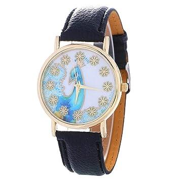 sportsmanship Watch Women Peacock Pattern Fashion Clock Women Colored Leather Watch Ladies Gift Watch Vintage Relojes