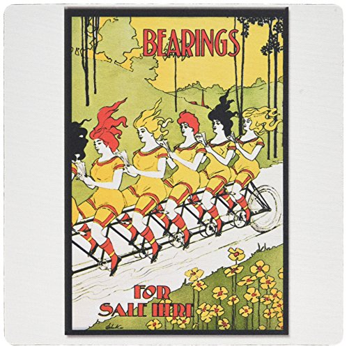 3dRose 8 x 8 x 0.25 Inches Mouse Pad, Vintage Art Nouveau Bearings for Sale Here Women on Tandem Bike Poster (mp_130247_1)