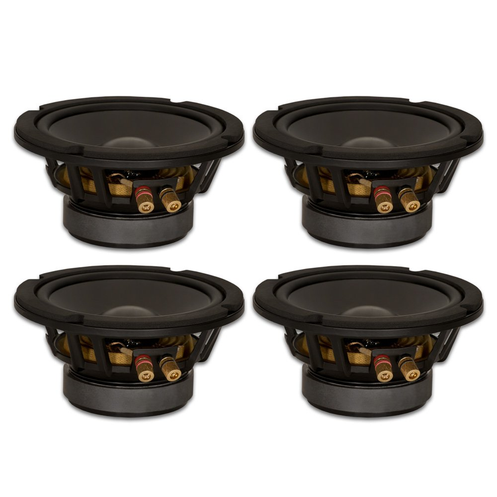 Goldwood Sound, Inc. Stage Subwoofer, Heavy Duty 8ohm 6.5 Woofers 280 Watts Each Replacement 4 Speaker Set (GW-6PC-8-4)