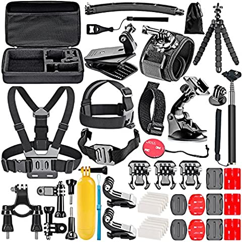 Neewer 50-In-1 Action Camera Accessory Kit for GoPro Hero Session/5 Hero 1 2 3 3+ 4 5 SJ4000 5000 6000 DBPOWER AKASO VicTsing APEMAN WiMiUS Rollei QUMOX Lightdow Campark And Sony Sports DV and (Gopro Case And Accessories)