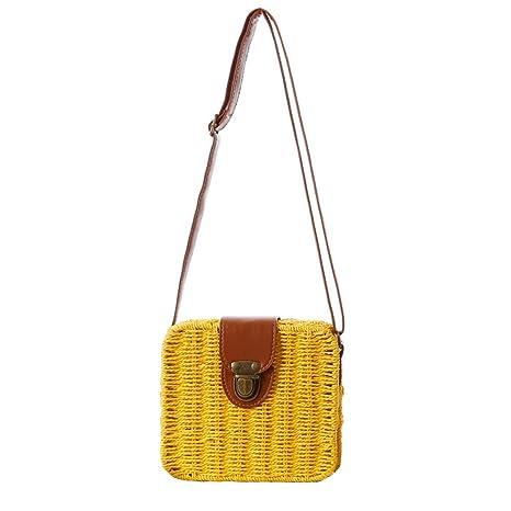 Mujeres Paja Tejer Bolsa Crochet Crossbody Bolsa Bolsa de hombro Messenger Carteras Playa Bolso de mano
